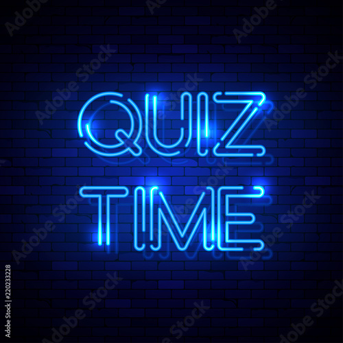 Quiz Time neon sign on the brick wall. Vector Illustration