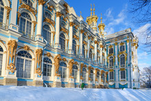 Catherine Palace In Tsarskoe Selo In Winter. Pushkin. Saint Petersburg. Russia