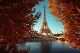 Fototapeta Wieża Eiffla - Seine in Paris with Eiffel tower in autumn time