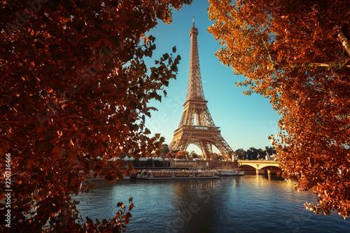 Deurstickers Centraal Europa Seine in Paris with Eiffel tower in autumn time