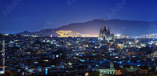 Deurstickers Centraal Europa Barcelona in sunset time, Spain