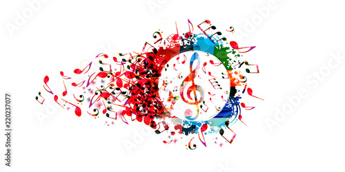 Obraz Music colorful background with music notes and G-clef vector illustration design. Artistic music festival poster, live concert, creative treble clef design - fototapety do salonu