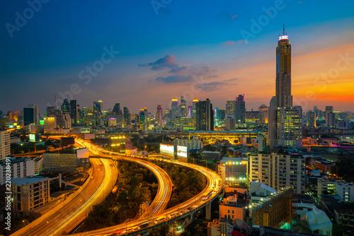 In de dag Bangkok Aerial view of Bangkok building and Express ways