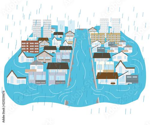 фотография 大雨と川の決壊で浸水した街