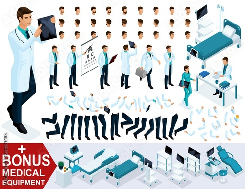 Isometrics for creating your 3D character doctor, surgeon sets of ...