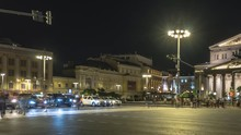 View Of Urban  Square With The Movement Of Public Transport, Cars And Crowds Of People Rushed Home After The Working Day, Time Lapse