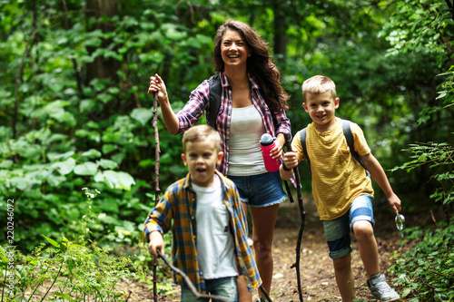 Obraz Mother and her little sons hiking trough forest .They learning about nature. - fototapety do salonu
