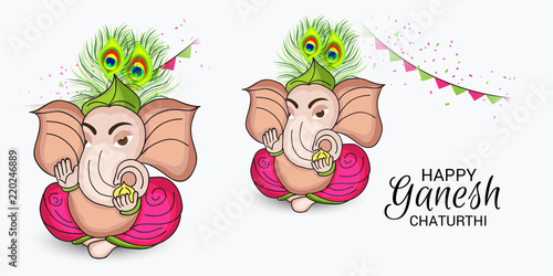 illustration of a Creative Card, Poster or Banner for Festival of Ganesh Chaturthi Celebration Wallpaper Mural