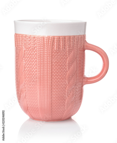 Pink knit texture ceramic coffee mug