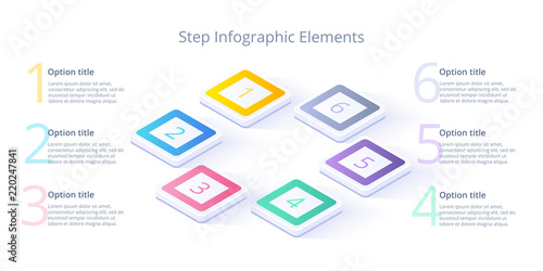 Obraz Business process chart infographics with 6 step segments. Isometric 3d corporate timeline infograph elements. Company presentation slide template. Modern vector info graphic layout design. - fototapety do salonu