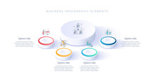 Business Process Chart Infographics With 4 Step Segments. Isometric 3d Corporate Timeline Infograph Elements. Company Presentation Slide Template. Modern Vector Info Graphic Layout Design.