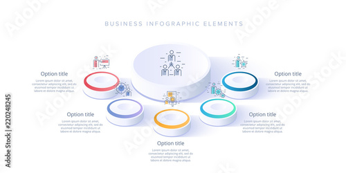 Photographie  Business process chart infographics with 5 step segments
