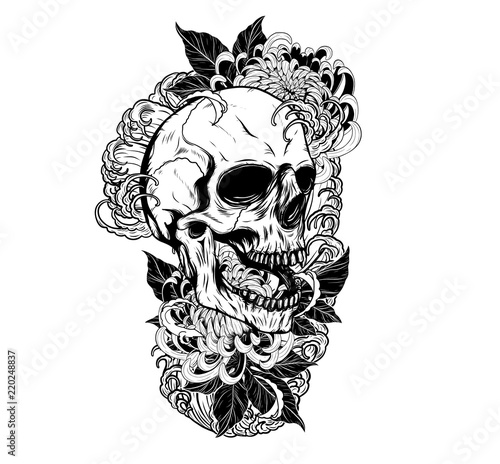 Skull with chrysanthemum tattoo by hand drawing.Tattoo art highly detailed in japanese line art style.Black and white line art pattern for paint