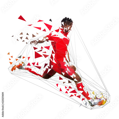 Obraz na płótnie Football player in red jersey kicking ball, abstract low poly vector drawing