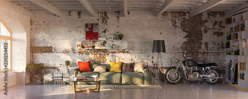 modern vintage brick loft apartment with flares Canvas Print