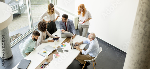 Top view at business people in office Canvas Print