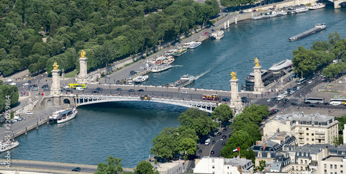 Tuinposter Parijs Aerial view of Pont Alexandre III bridge on Seine river in Paris, France