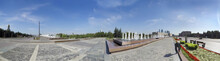 Moscow City Skyline Panorama Poklonnaya Park Field Sky With Monument Of Victory In Great Patriotic War Background Park Street Exterior Panoramic Detail Wide Travel Tourism View