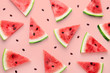 canvas print picture - Watermelon slices pattern viewed from above. Top view. Summer concept.