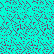 Abstract Purple On Blue Zig Zag Seamless Pattern. Abstract Bright Colors Texture With Hand Drawn Angle Zigzag Lines For Textile, Wrapping Paper, Cover, Surface, Background, Wallpaper