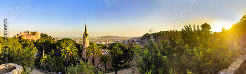Foto op Canvas Barcelona View of the city from Park Guell in Barcelona, Spain with sunrise colors