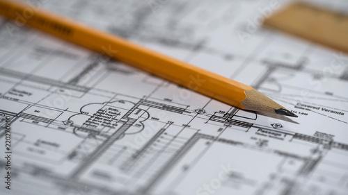 Close-up of detailed building plan, architecture design, construction bureau