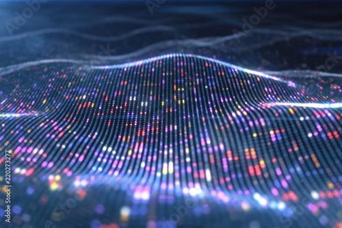 Fotografie, Obraz  Abstract glowing virtual neural network