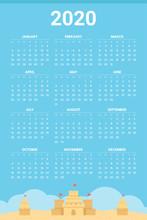 2020 Calendar With Sand Castle Theme - Vector
