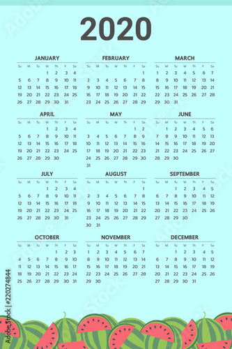 Fotografia  2020 Calendar with watermelon theme - Vector