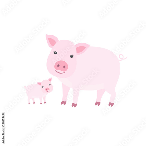 Canvas Print Cute cartoon mother pig with her cub.