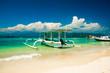 Beautiful Beach on Gili Trawangan with colorful small wooden boats, Gili islands, Lombok in Indonesia