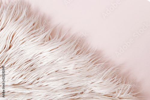 Fotografía Pink fluffy fur background.  Flat lay, top view