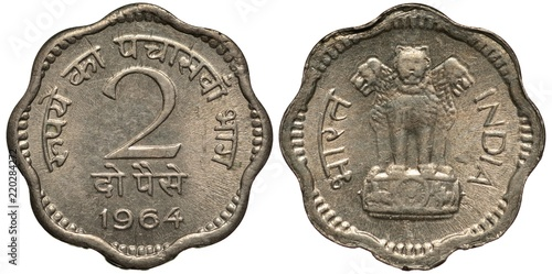 India Indian Coin 2 Paise 1964 Value And Date Surrounded By