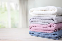Towels Stack On Table Empty Sp...