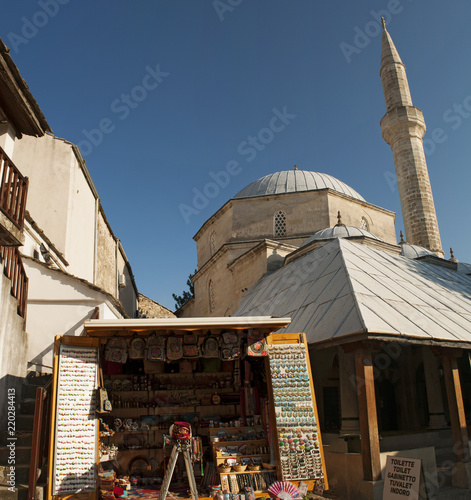 Bosnia: la moschea Koshi Mehmed Pasha, la seconda moschea più grande di Mostar, Poster Mural XXL