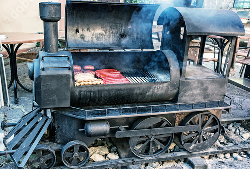 Photo  Barbecue grill in shape of steam locomotive