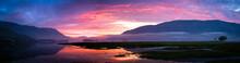 Beautiful Colorful Sunset Over Loch Leven, Glencoe Village, Scotland, UK