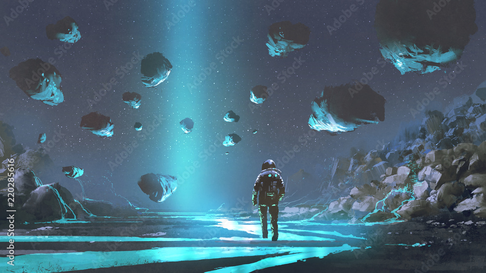 Fototapety, obrazy: astronaut on turquoise planet with glowing blue minerals, digital art style, illustration painting