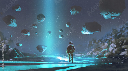 astronaut on turquoise planet with glowing blue minerals, digital art style, ill Fototapeta