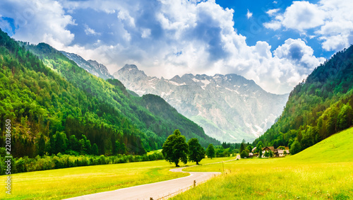 Obraz View on green mountains and meadow in Logarska dolina valley - fototapety do salonu