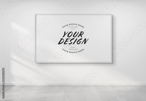 Rectangular Frame on Wall Mockup. Buy this stock template and ...