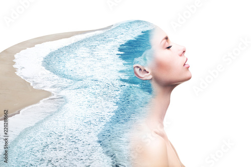 Double exposure woman and ocean Poster Mural XXL