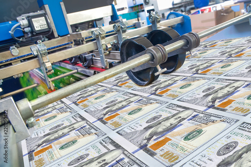 Pinturas sobre lienzo  Dollar money usa finance printing process detail