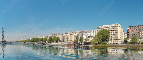 Panoramic image of Paris modern architecture in Paris with and Seine river Canvas Print