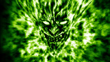 Angry Demon Face Screams In Fire. Green Color