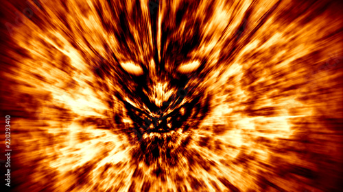 Valokuva Angry demon face screams in fire. Orange color.