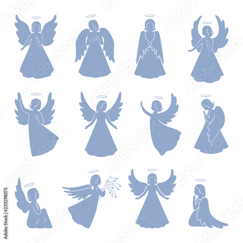 Set of twelve Angel silhouettes Wall mural