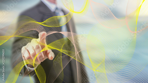 Man touching an abstract wave network concept