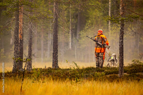 Hunter and hunting dogs chasing in the wilderness Billede på lærred
