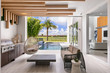 modern covered porch and outdoor area with hanging chair, grill and pool